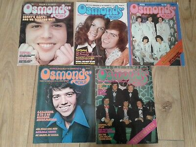 The Osmonds - 5 x Osmonds World Magazines 1973 / 1974 issue Numbers 2,3,6,11,13