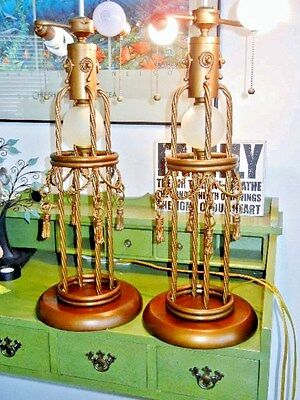 Pair of Anthony Tassel Rope Brass Finish Lamps 2 Light Double Socket Pull Chain