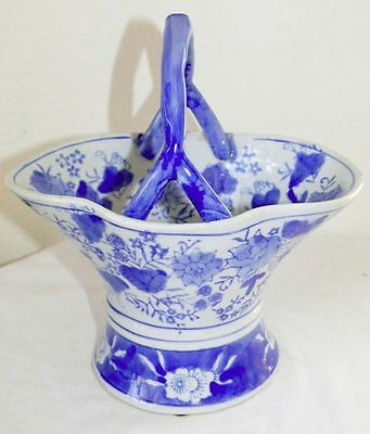Chinese Cobalt Blue White Porcelain Handled Basket Hand Painted Lotus Flowers