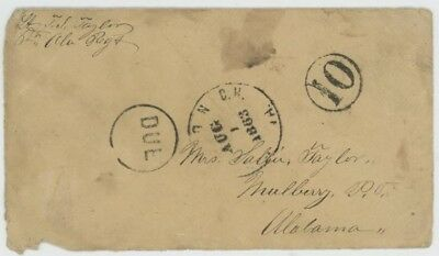 Mr Fancy Cancel CSA STAMPLESS COVER DUE 10 ??ON C H VA 1863 CDS FROM SOLDIER
