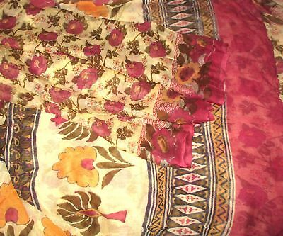PURE CHIFFON Antique Vintage Sari Saree Fabric REUSE 4y Cream Wine #,APUS