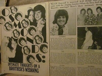 Merrill Osmond, Two Page Vintage Clipping, Osmonds Brothers