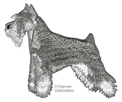 IRON-ON MINI SCHNAUZER PATCH embroidered applique GIANT STANDARD DOG salt/pepper