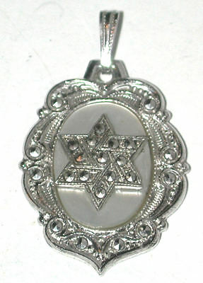 Vintage Sterling silver Marcasite Star of David Pendant mother of pearl MOP