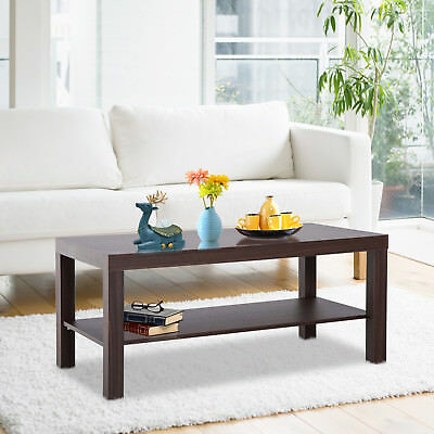 Minimal Wood Coffee Table 2 Tier Side Table Storage Shelf Living Room Office