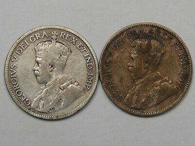 2 Silver 25 Cent Canadian Coins: 1935 & 1936.  #14