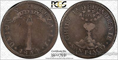 Chile 2 Reales 1834 IJ VF25 PCGS silver KM#92 3740k Very Tough Type Pillar