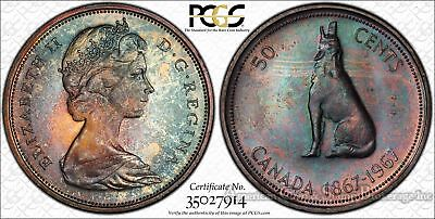 Canada 50c Cents Half Dollar 1967 MS65 PCGS silver KM#69 Toned Color Superb