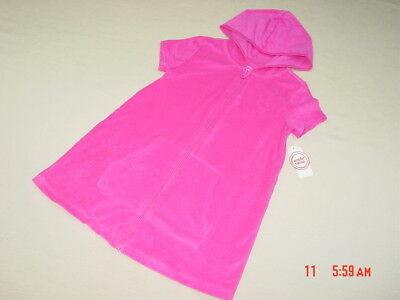 ee424df443 NWT Girls Terry Cloth Beach Cover Up Swim Pink Summer Zippered Hooded Sporty