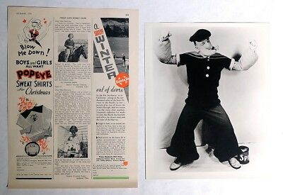 P809. Vintage Lot of 2: Popeye SWEAT SHIRTS AD & Henry Foster Photograph 1936