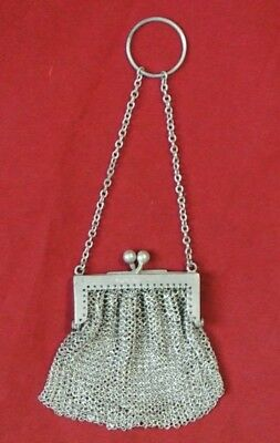 Antique .925 Sterling Silver Mesh Monogrammed Flapper Bag Coin Change Purse