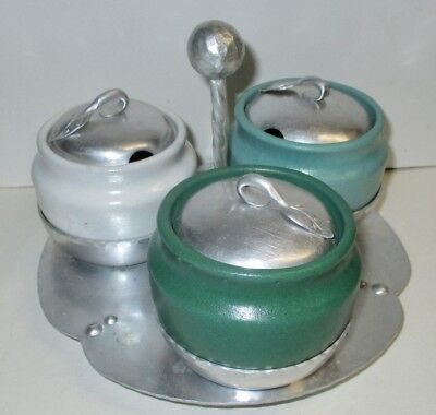 Aluminum Hand Wrought Laird Argental Condiment Tray Pottery Inserts