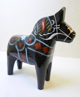 "Swedish BLACK DALA HORSE 4"" Tall Hand Painted Unsigned Carved Wood From Sweden"