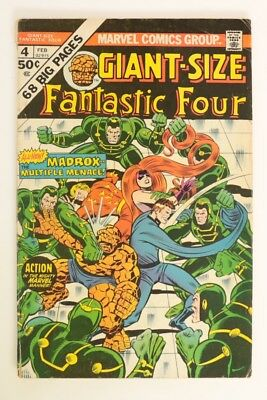 M058. Giant-Size FANTASTIC FOUR #4 Marvel 3.0 G/VG 1975 1st MADROX Multiple Man