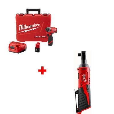 "Milwaukee 2553-22 M12 FUEL 1/4"" Hex Impact Driver Kit with FREE RATCHET"