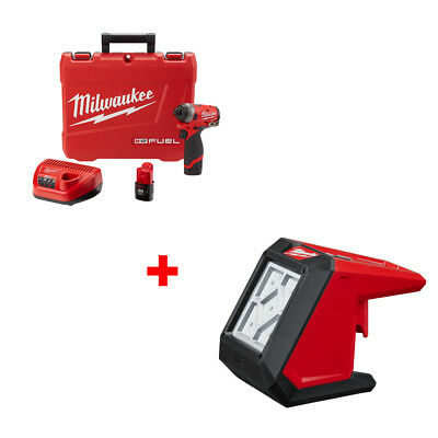 "Milwaukee 2553-22 M12 FUEL 1/4"" Hex Impact Driver Kit with FREE FLOOD LIGHT"