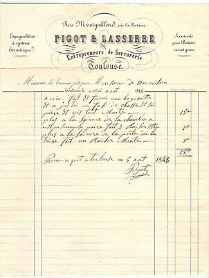 Facture Ancienne Serrurerie Toulouse 1848 / Invoice Locksmithing