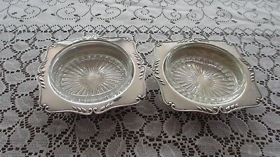 Vintage Silver Plated Butter & Jam dishes with depression Glass Inserts