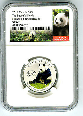 2018 $8 Canada Silver Ngc Sp69 Panda Peaceful Friendship First Releases !!