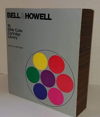 Vintage Bell & Howell 16 Slide Cube Cartridge Library Excellent Condition
