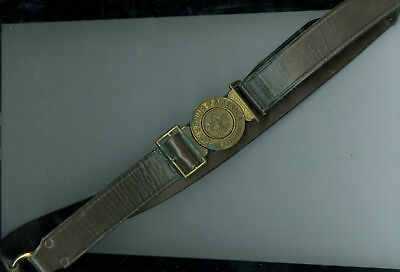 Older Official Boy Scout Leather Belt W/Interlocking Metal Buckle Adustable - 36