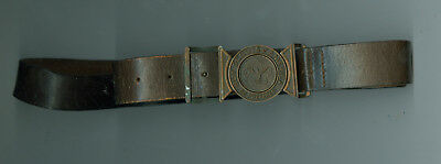 Older Official Boy Scout Leather Belt W/Interlocking Metal Buckle Adustable