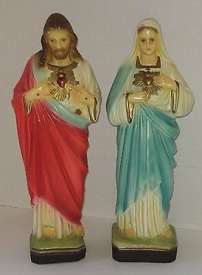 Virgin Mary and Sacred Heart of Jesus Chalk Ware Statues - Beautiful