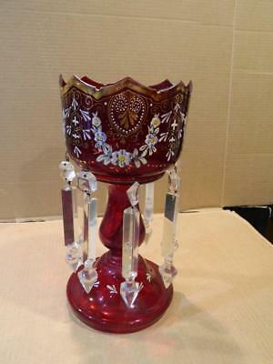 Bohemian Flash Red Glass Comport Compote Painted Design Share Girandoles Antique