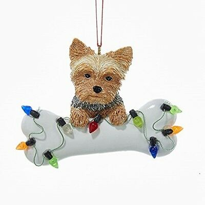 Yorkshire Terrier Yorkie with Bone and Christmas Lights Tree Ornament Dog Pet