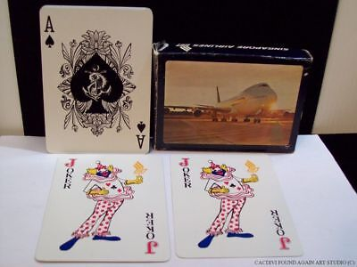 Singapore Airlines Jumbo Jet 747 B  Playing Cards Deck & Box Open Vtg