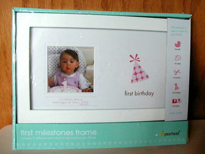 New Pearhead First Milestones Personalized Frame with 9 Unique Mats