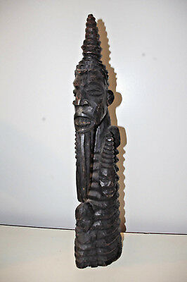 Antique African Tribal Carved Wood Standing Statue Sculpture 4 FACES LONG BEARD