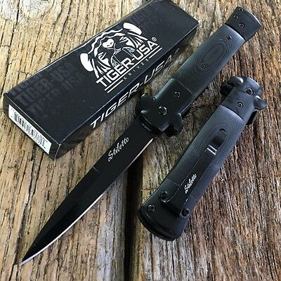 Black Wood Milano Italian Stiletto Tactical Spring Assisted Open Pocket Knife