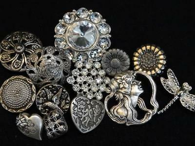 LOT ANTIQUE VINTAGE & NEW SILVER BUTTONS Mirror Back Picture Rhinestone Glass +