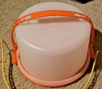 "Tupperware 10"" Cake Carrier Taker W/Tall Lid 683-5 & Carry Handle and Base 684-5"
