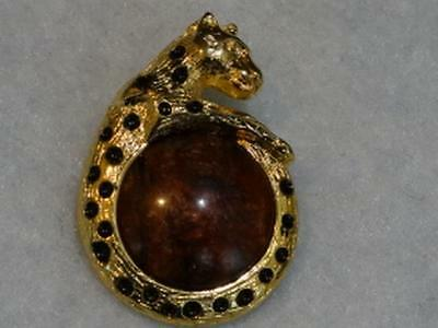 Fabulous Rare Gold Metal Brown Stone Tiger Eye Leopard Button