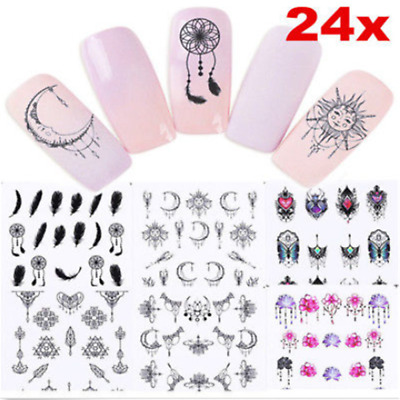 24PCS Dreamcatcher Feather Moon Water Transfer Decals Nail Art Stickers Tips Lot