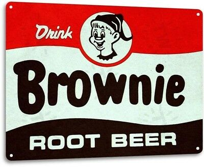 Brownie Root Beer Soda Cola Kitchen Cottage Bar Retro Label Metal Decor Sign
