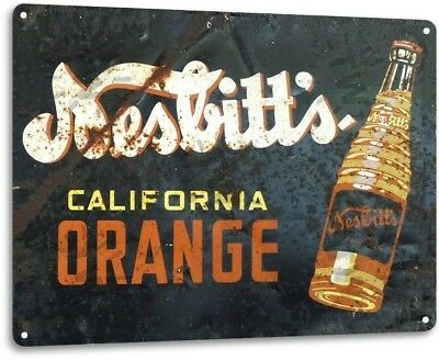 """Nesbitt's Orange"" Metal Decor Wall Art Coke Soda Store Kitchen Sign"
