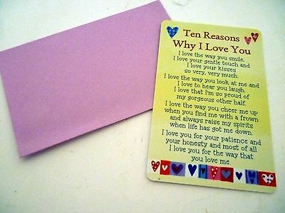 "Heartwarmer Keepsake Message Card ""10 Reasons Why I Love You"" Beautiful Verse"