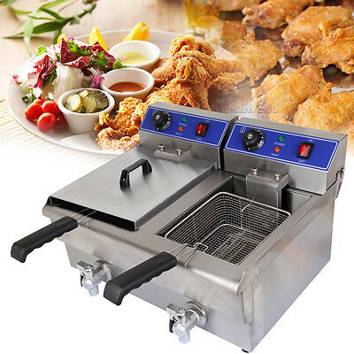 20L Large Commercial Deep Fryer Electric Double Basket w/Oil Tap Stainless Steel