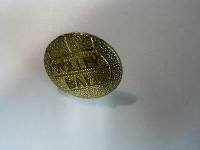 Vintage Gold Volley Ball, Volleyball pinback, tie tac, badge