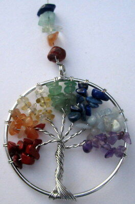 "Suncatcher ""tree Of Life"" Multi Coloured Natural Gemstone Crystals Gift Boxed"