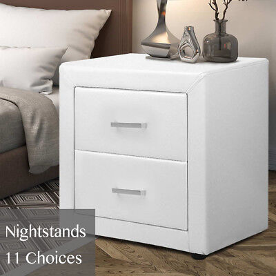 Designer Bedside Table Nightstand Cabinet with Drawers Black White Grey Brown
