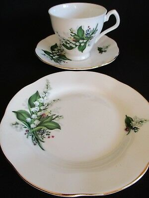 Vintage pretty Lily of the Valley mismatch English china Trio cup, saucer plate