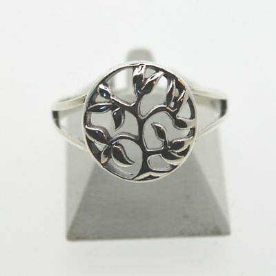 Tree of Life Ring Ornate Small Sterling Silver Wicca Pagan Reiki World Tree