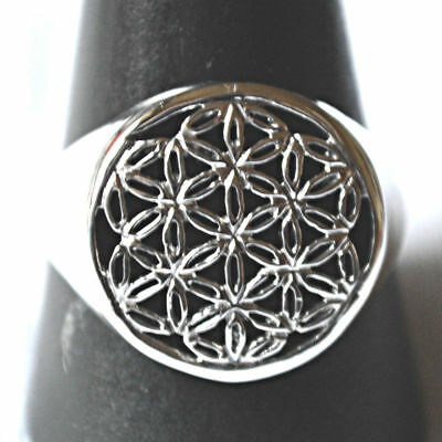 Flower of Life Seed of Life Ring Sterling Silver Sacred Geometry Reiki Pagan