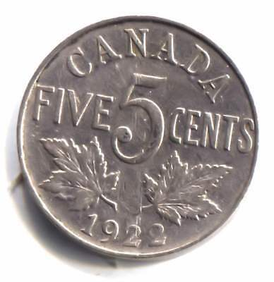 1922 Canadian Maple Leaf Five Cent Nickel Coin - Canada - King George V