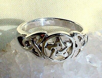 Pentagram Ring Sterling Silver Celtic Knot Wicca Witch Goth Pagan Reiki-Charged