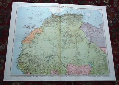 Large VICTORY MAP ~ NORTH WEST AFRICA ~ Alexander Gross & Geographical 1919/1920